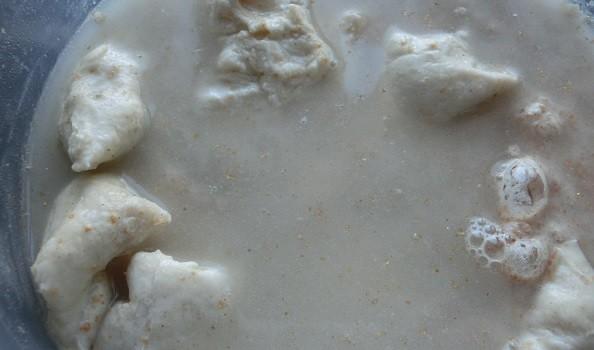 Mezclando la masa madre y su alimento.