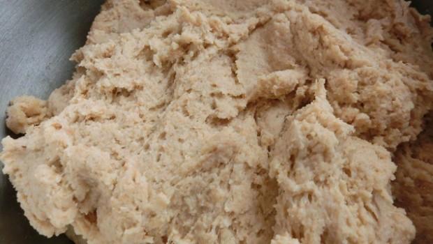 La masa, sin sal ni levadura, mezclada durante la autolisis.